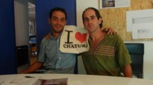 """José Miguel y Adán, en la que empieza a ser una """"foto típica"""" de los voluntarios de EPT@."""